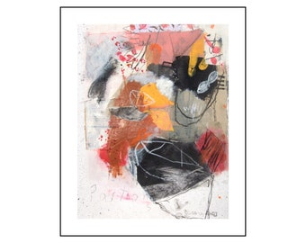 Original mixed media abstract painting on paper from Danielle Lauzon - acrylic and collage