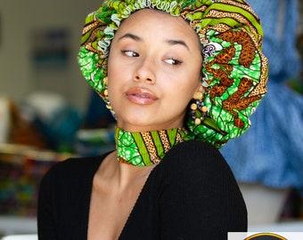 African Fabric Print silk lined Bonnets