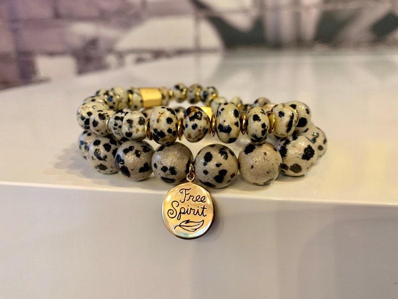 Beads 12 mm Size  ML Stretch Bracelet Genuine Dalmatian gemstone With FREE SPIRIT bronze charm and Hematite square spacer