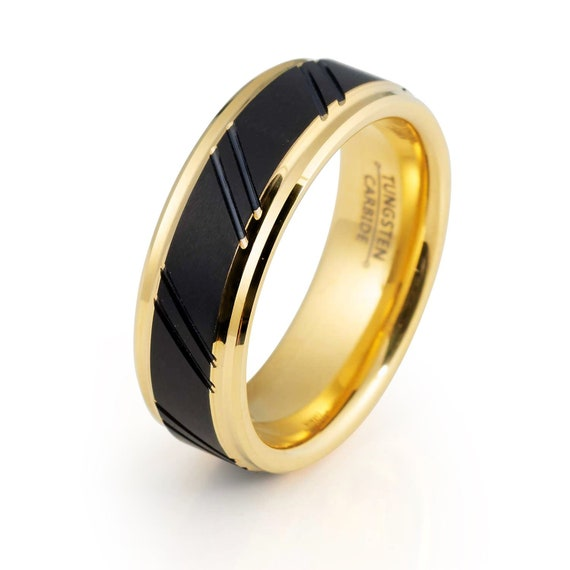 Mens Wedding Band Tungsten Ring 8mm Yellow Gold Ring Black And Yellow Ring Engagement Anniversary Yellow And Black Ring Mens Ring Promise