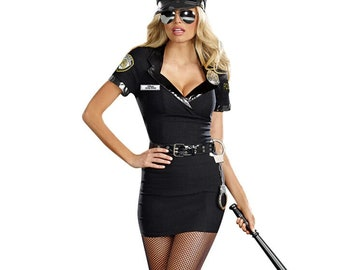 Ladies Policewoman Costume Adult Police Officer Fancy Dress Womens PC Cop Outfit