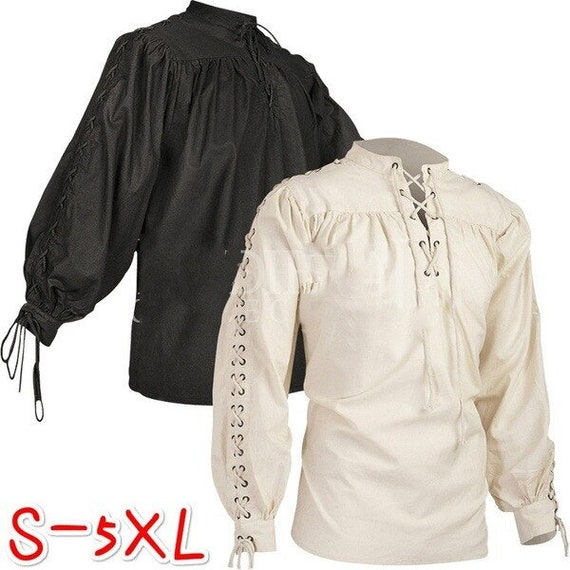 Men Medieval Tunic LARP Viking Pirate Shirt Renaissance Cosplay Costume Shirt