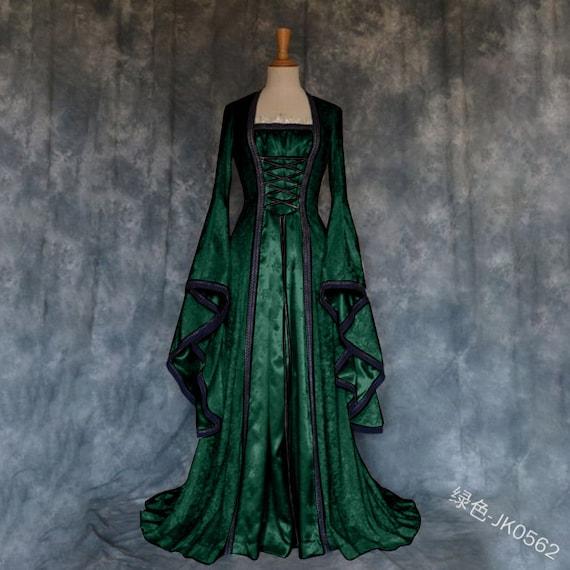 Womens Dress Medieval Renaissance Costume Vintage Lace-up Floor Length Irish Princess Over Dress Plus Size Gowns