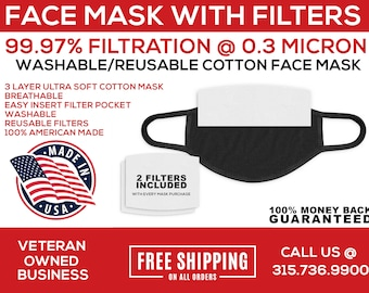Face Mask with Filter, Cloth Face Mask, Face Mask with HEPA Filter, Filter Mask