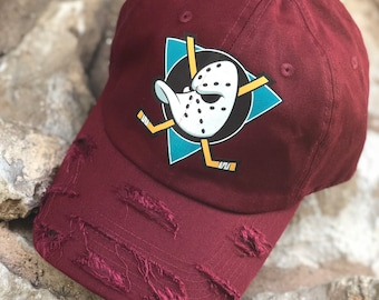 arrives 46530 3cb76 Mighty Ducks Custom Dad Hat, Mighty Ducks Movie Hat, Anaheim Ducks Cap,  Vintage Mighty Ducks Trucker Hat