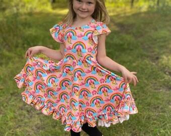 twirly dress buttery soft ruffle trim Milky Way cap sleeve colorful rainbow dress bold toddler dress, Galaxy dress winter dress