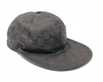 fbd740bf Authentic GUCCI Vintage GG Canvas Cap Polyamide & Leather Brown Unisex Size  L Rank AB