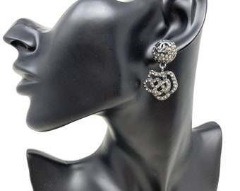 f48d86043 Authentic CHANEL Vintage Camellia & COCO mark Dangle Drop Studs Earring  Rhinestone Gray
