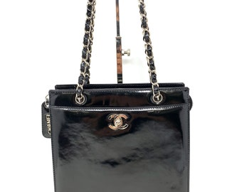 902186ef1171 Authentic CHANEL Patent Leather Chain Shoulder Bag Turn Lock COCO Black  RankAB