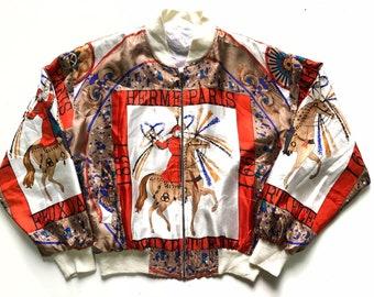 b5179d071 Vintage Hermes Silk Jacket Bomber not chanel balenciaga gucci louis vuitton
