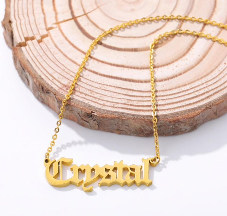 Name Necklace initial charm necklace Personalized Necklace Old English Font Name For Women Bijoux Femme Best Friend Custom Necklace