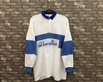 05546244 Vintage Benetton Blue White Spell Out Long Sleeve Polo Rugby Shirt Size XL