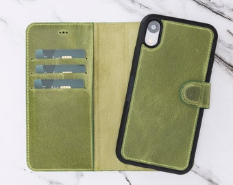6.1 Green Leather Magnetic ClosureDetachable Wallet Phone Case by Oblac iPhone XR