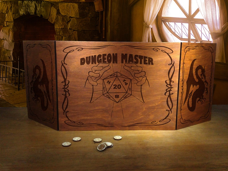 Dungeon Master Screen  Dungeons and dragons screen  GM Game Master screen  D20 Dice DnD  Geek Nerd Gift idea  Pathfinder RPG gift