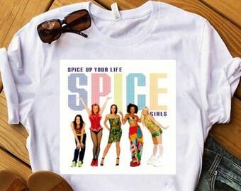 0621f9982 Vintage Spice Girls Logo Tee - Spice Girls T Shirt Spice Girls Reunion -  Feminist T-Shirt GRL PWR White Shirt Feminist Tee Feminist T Shirt