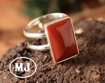 Stainless Steel Brown Gem Ring Square Womens Size 7.5