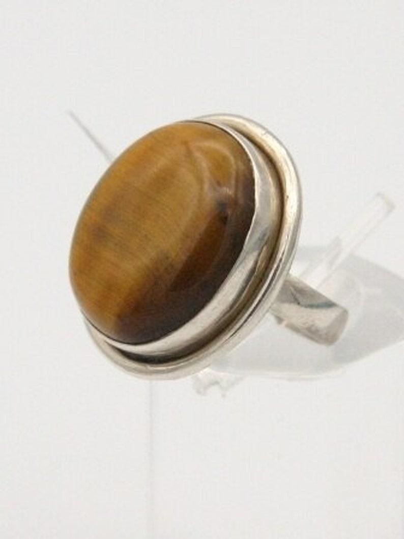Brown Gemstone Gift Round Tiger Eye Ring Gift Ring Single Band Jewelry Silver Tiger Eye Ring Made For Her Natural Gemstone