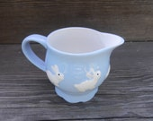 Blue Bunny Creamer, Vintage Serving Piece, Cute Nursery Accessory or Easter China