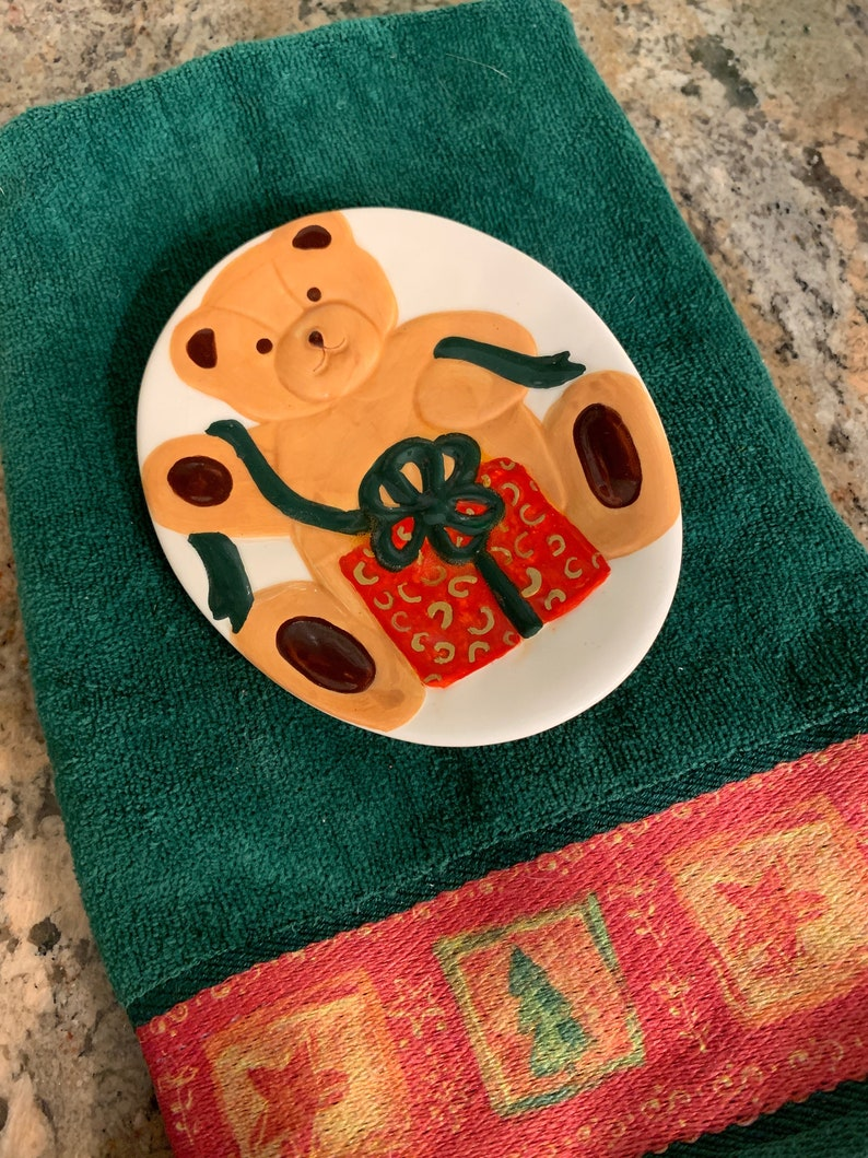 Tea Bag Holder Unique Holiday Decor Oval Ceramic Spoon Rest Vintage Christmas KitchenBathroom Accessory Teddy Bear w Gift Soap Dish
