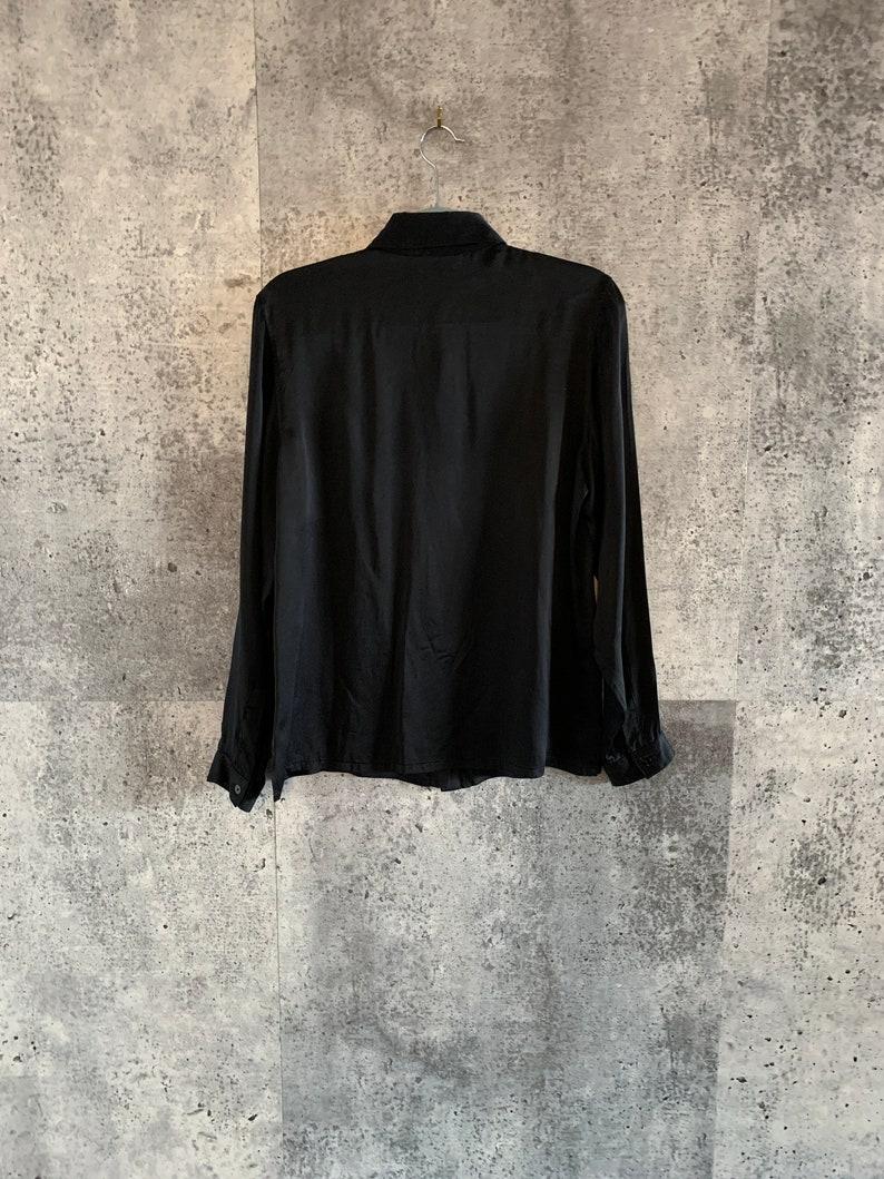 Vintage Silk BlouseBlackRon LealWomen/'s Size 1290s