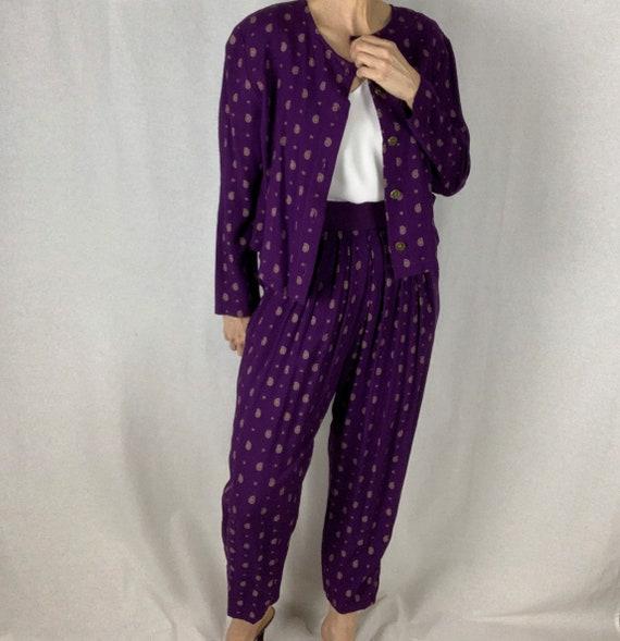 Vintage 90s Purple Print Cropped Jacket and Pant … - image 3