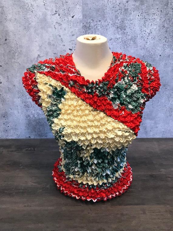 Vintage Scrunchie Popcorn Top/Cap Sleeve/Mod Print