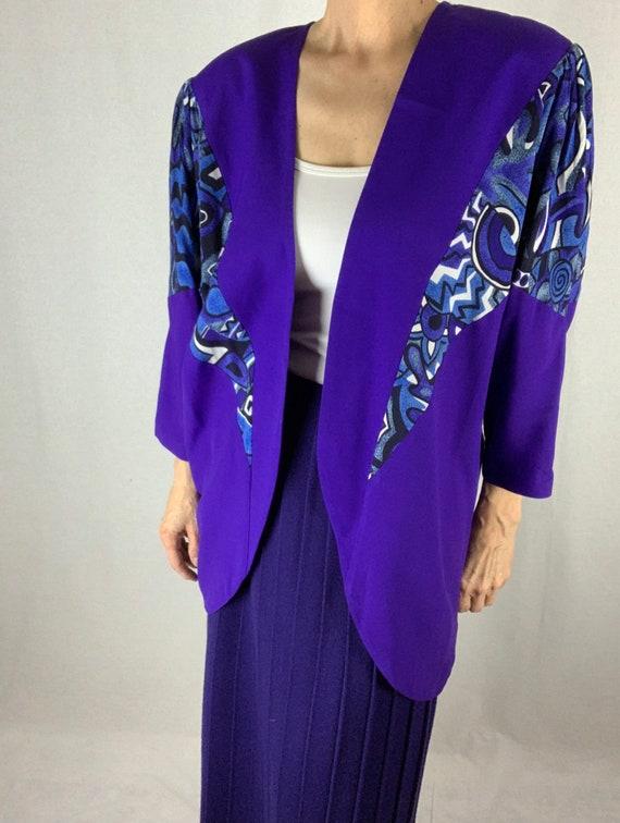 Vintage Cocoon Shape Jacket/Purple Solid/Purple Pr