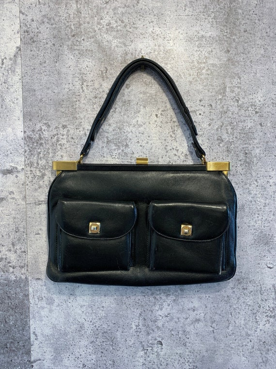 Vintage Black Handbag/Top Handle/Shoulder Bag/50 -