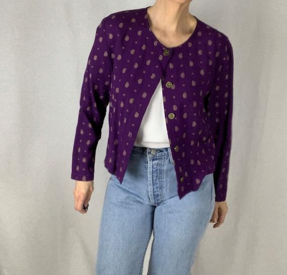Vintage 90s Purple Print Cropped Jacket and Pant … - image 4