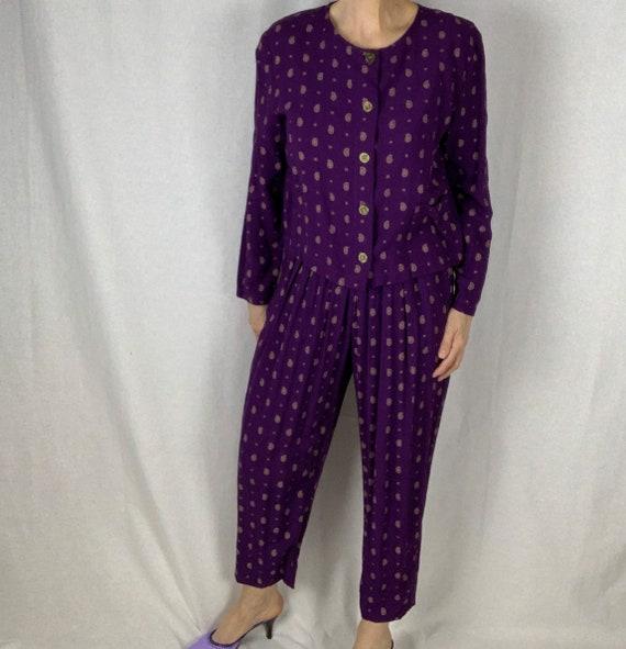 Vintage 90s Purple Print Cropped Jacket and Pant … - image 2
