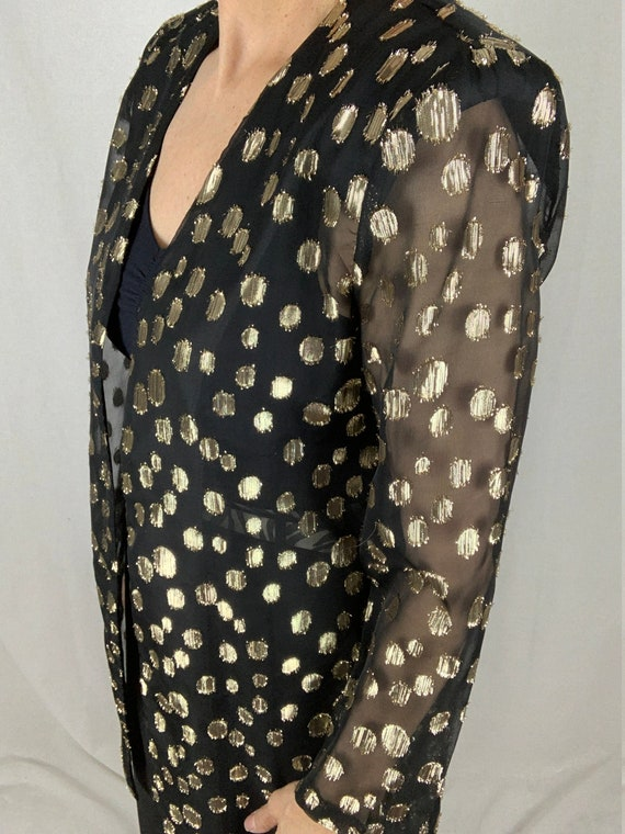 90/'s vintage sheer metallic blouse SMALL The Limited