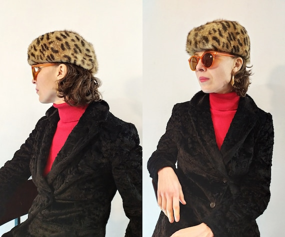 70s Vintage Leopard Fur Hat Animal Print Hat with