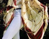 Gucci Inspired Silk Scarf Pashmina Hijab, 6 Colours, Ivory, Navy Blue, Pink, Black, Red, Grey