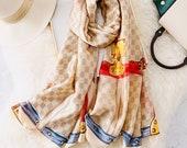 Louis Vuitton Inspired Silk Scarf Beige Silver Grey Brown