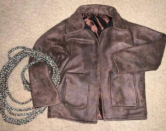 Aviator jacket, brown faux leather, Indiana Jones style , with pockets, lined brown jacket
