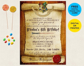 photograph regarding Printable Harry Potter Invitations known as Harry potter invitation Etsy