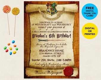 image regarding Free Printable Harry Potter Invitations named Harry potter birthday invitation Etsy