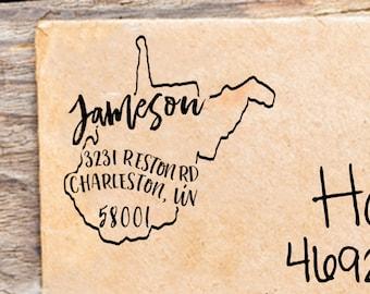 West Virginia Address Stamp Self Inking Address Stamp Custom Address Stamp Square Stamp Return Address Stamp WV Housewarming Gift