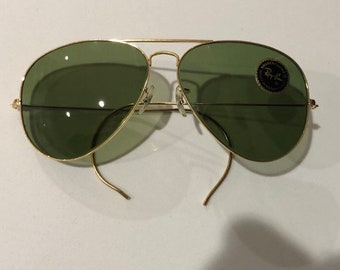 db5bd9bc7426 Bausch & Lomb Ray Ban 62mm Aviators green lenses authentic