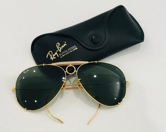 c329c0b9e5 BL Ray Ban 62mm gold aviator shooters with enamel bausch & lomb originals  circa 60s