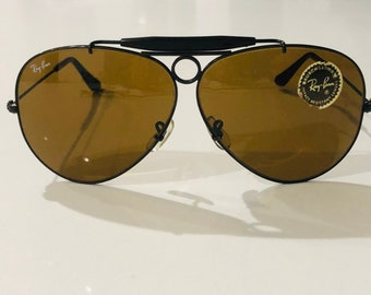 71b911b8ae0fc9 New Vintage BL Ray Ban Shooter Aviators brown lenses made by Bausch   Lomb