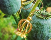 Poppy flower earrings unique jewelry