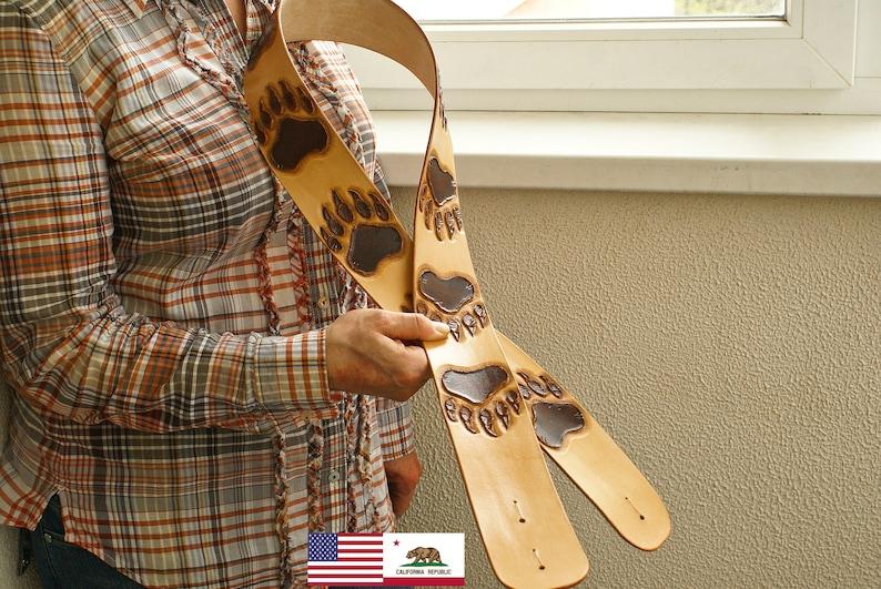 handmade leather guitar belt or leather guitar strap or tooled leather strap or guitar tooled leather or carved leather guitar strap