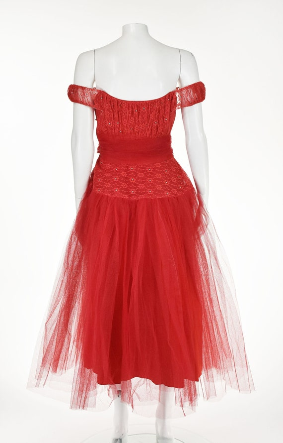 Classic 1950s Red Tulle Prom Party Dress - image 5