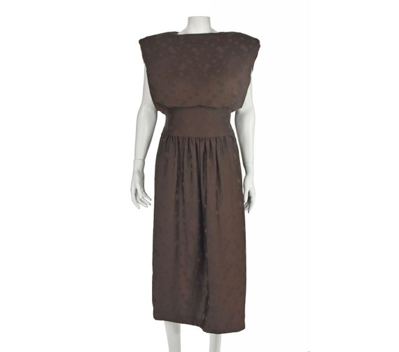 ARNOLD SCAASI 1960s Brown Silk Dress with Jacket - image 1