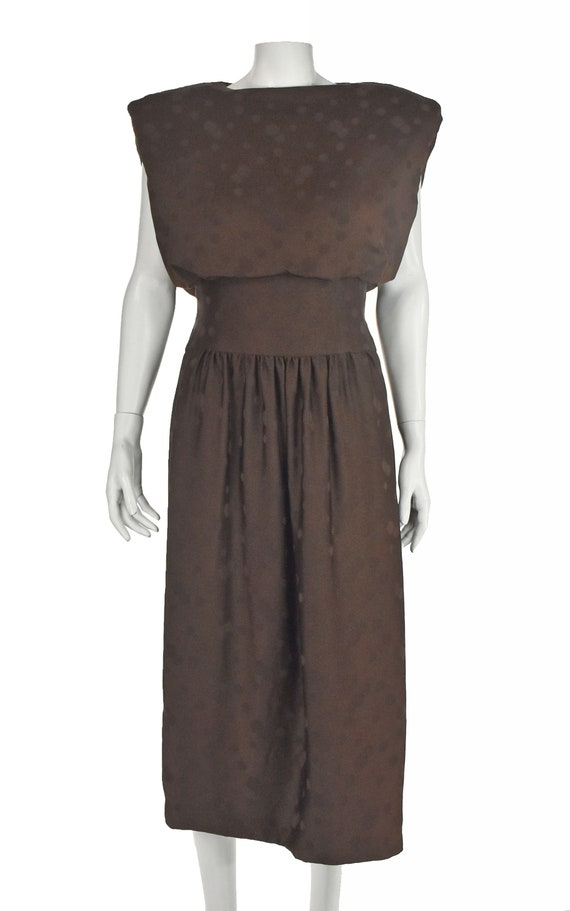 ARNOLD SCAASI 1960s Brown Silk Dress with Jacket - image 5