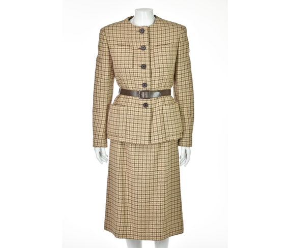 NORMAN NORELL 1960s Houndstooth Wool Belted Skirt