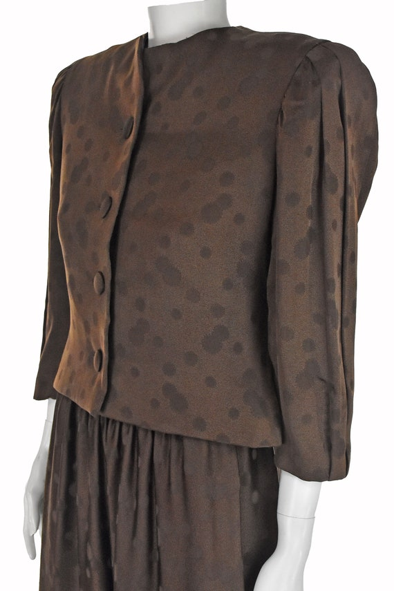 ARNOLD SCAASI 1960s Brown Silk Dress with Jacket - image 4