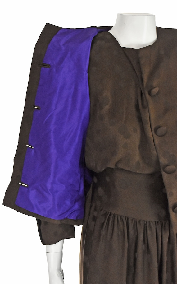 ARNOLD SCAASI 1960s Brown Silk Dress with Jacket - image 7