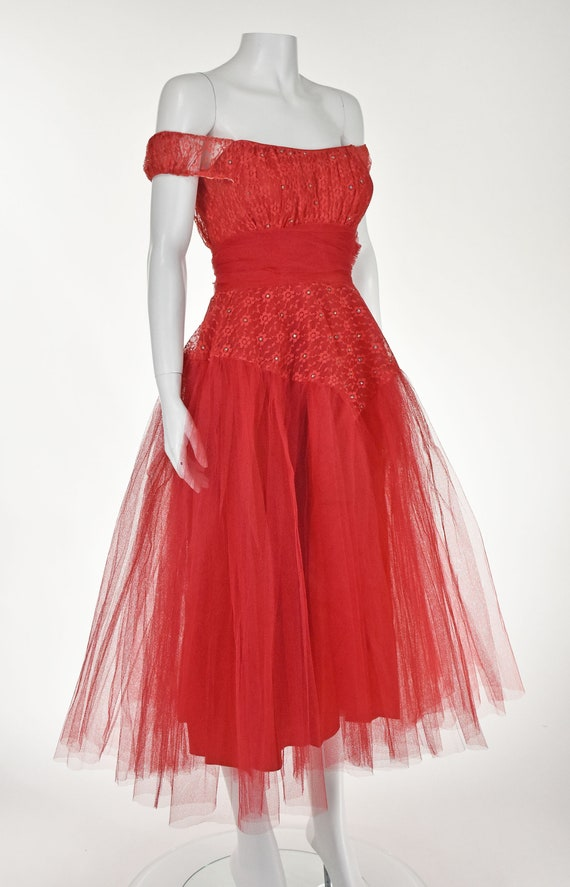 Classic 1950s Red Tulle Prom Party Dress - image 3